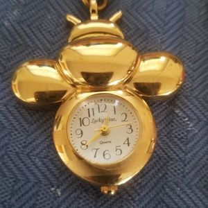 Lucky star bumble bee necklace watch